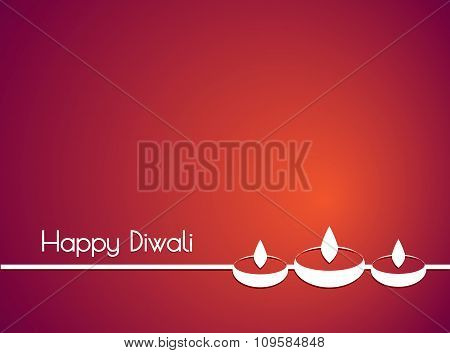 White text calligraphy inscription Happy Diwali festival India with incandescent light with shadow o