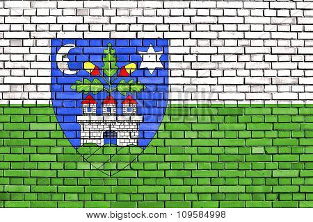 Flag Of Veszprem County Painted On Brick Wall