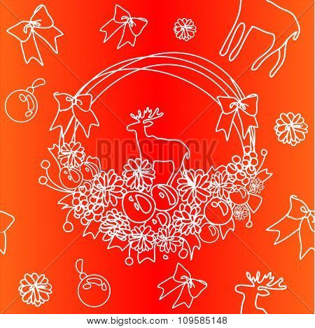 Christmas Wreath Pattern In Red- Orange Colors