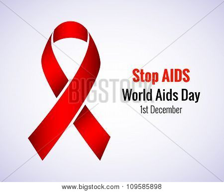 Stop AIDS - 1st December AIDS day template red ribbon on isolated background with shadow. Vector ill