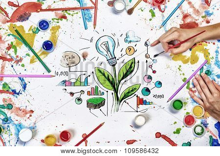 Top view of people hands drawing business growth and income concept