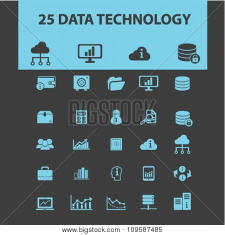 data, database, hosting, analytics  icons, signs vector concept set for infographics, mobile, website, application