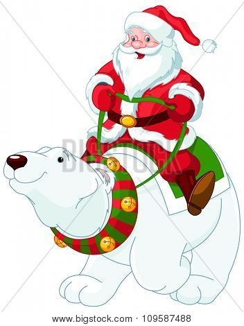 Santa Claus riding on the back of a friendly polar bear