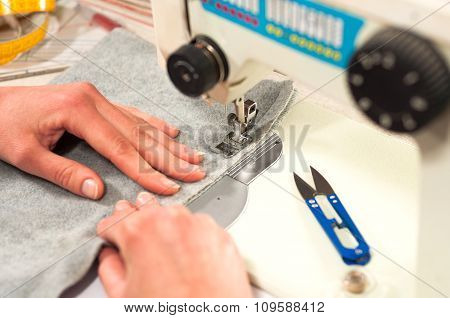 Processes Of Sewing On The Sewing Machine Sew Women's Hands Sewing Machine