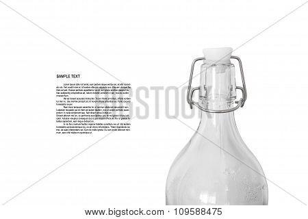 Close-up,glass bottle , isolated on white background