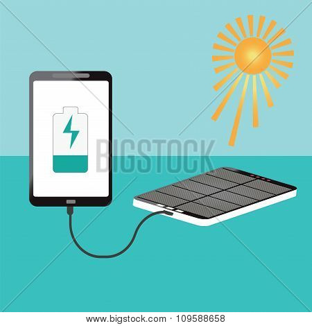 Human Hand Holding Smartphone Charging Connect With Solar Powerbank.