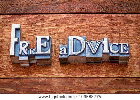 free advise word abstract in letterpress metal type against rustic barn wood