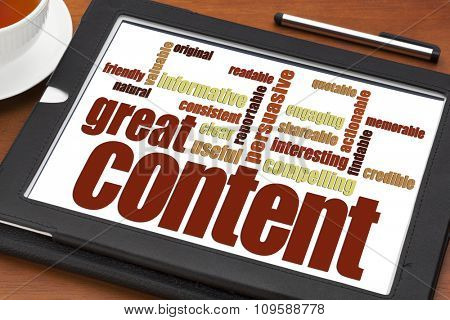great content writing word cloud on a digital tablet with a cup of tea- bloging, business writing and content marketing concept