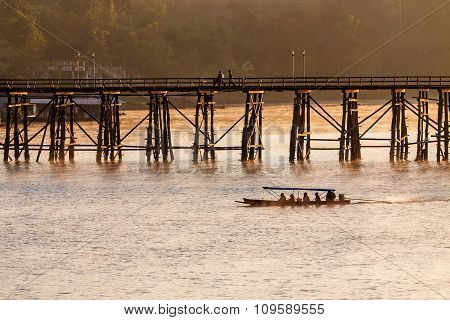 The Longest Wooden Bridge With The Morning Light.