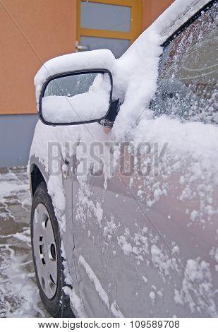 Snowy Car Rearview