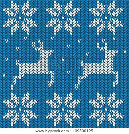 Blue Knitted Deers Sweater In Norwegian Style. Knitted Scandinavian Ornament. Vector Seamless Christ