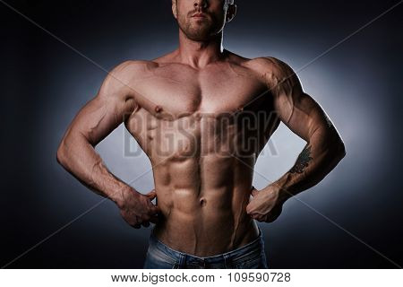 Torso of young athlete in isolation