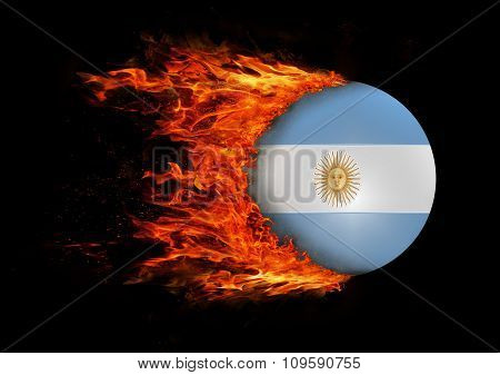 Flag With A Trail Of Fire - Argentina