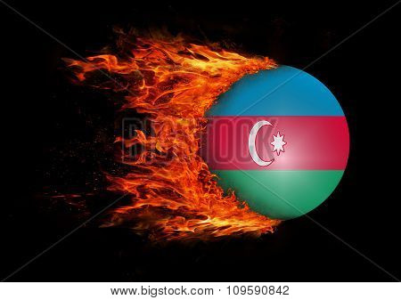 Flag With A Trail Of Fire - Azerbaijan