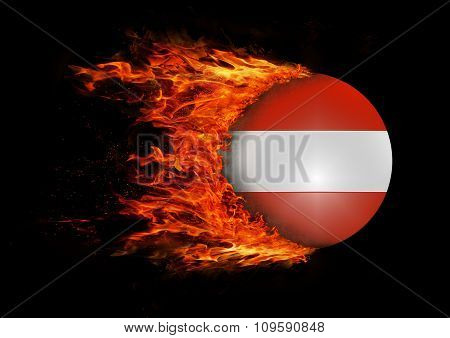 Flag With A Trail Of Fire - Austria