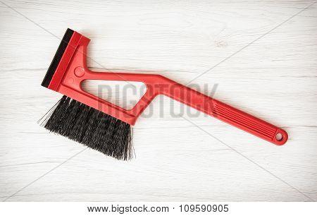Red Car Brush With Scraper
