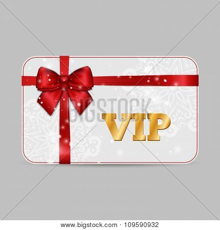 Ornamental Vip Card With Shiny Red Satin Ribbon Bow On White Lacy Background. Vector Template