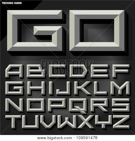 Vector 3D black and white  beveled alphabet in techno style with shadow.