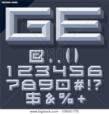 Vector 3D set of grey beveled symbols and numbers in techno style with shadow. Simple colored version.