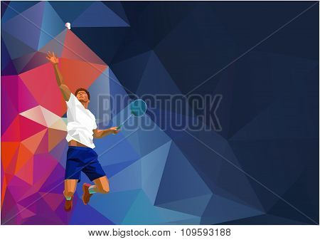 Polygonal professional badminton player on colorful low poly background doing smash shot with space