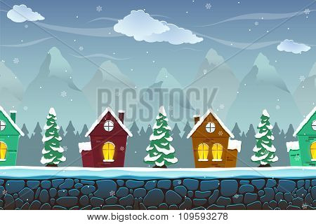 Seamless Cartoon Landscape With Fir-trees And Funny Houses
