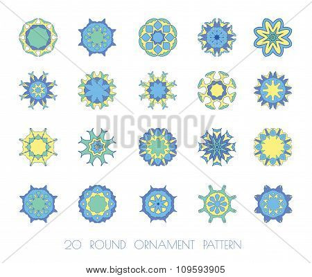 Round ornament  blue, yellow pattern