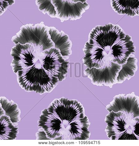 Seamless pattern with  pansies flower.