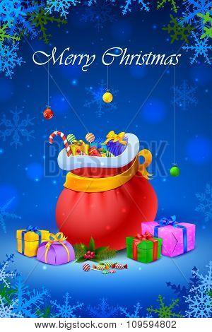 Santa sack and gift box for Christmas