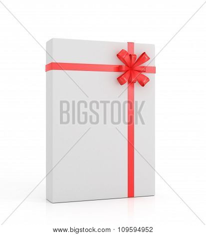 White Gift With Red Ribbon And Bow On A White Background.