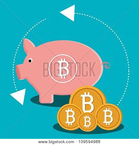 Bitcoin virtual money graphic icons design