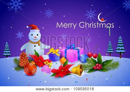 Snowman with colorful Christmas gift