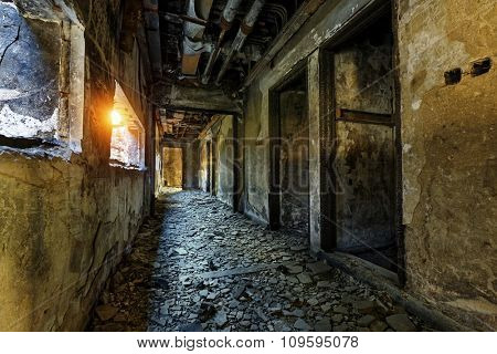 Old abandoned ruin factory damage building inside