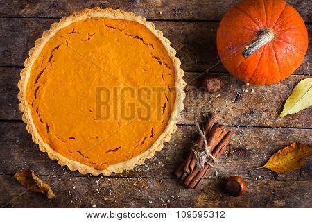 Pumpkin Tart  On Rustic Background