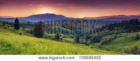 Majestic sunrise in the mountains landscape.Carpathian, Ukraine.