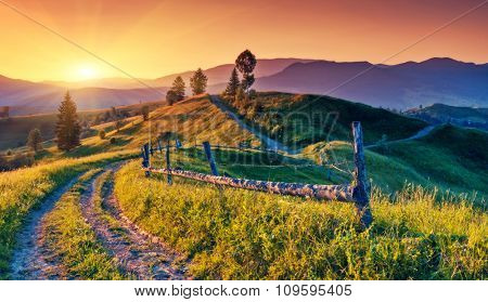 Fantastic morning mountain landscape. Colorful sky. Carpathian, Ukraine, Europe. Beauty world.