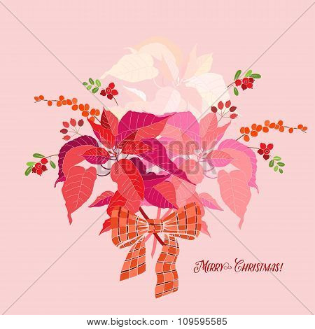 Background  with bouquet of poinsettia