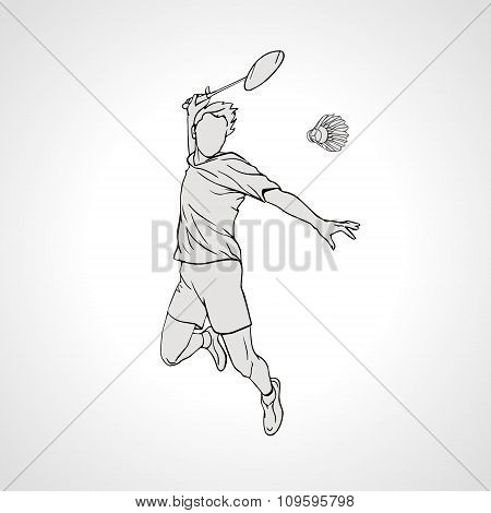 Vector illustration of Badminton player. Hand drawn.