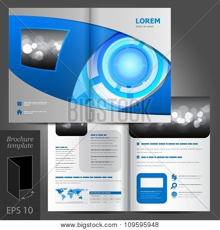 Brochure Template Design With Round Modern Elements