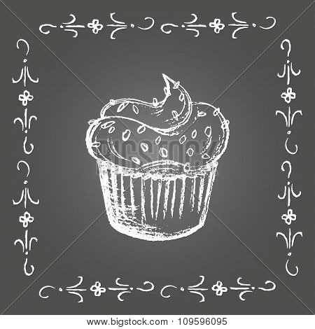 Chalk cupcake with sprinkles and vintage frame.