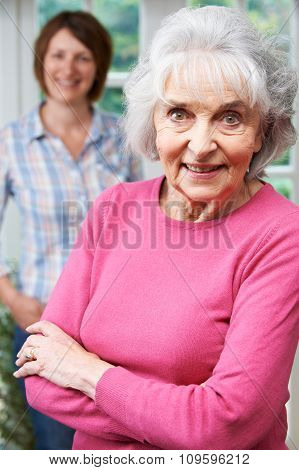 Senior Woman With Adult Daughter At Home