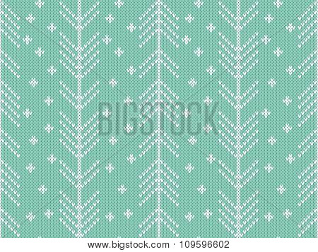 Seamless knitted pattern with winter ornament.
