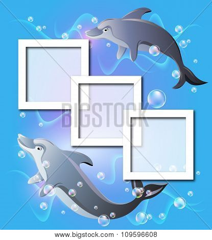 Photo Frames And Pair Dolphins