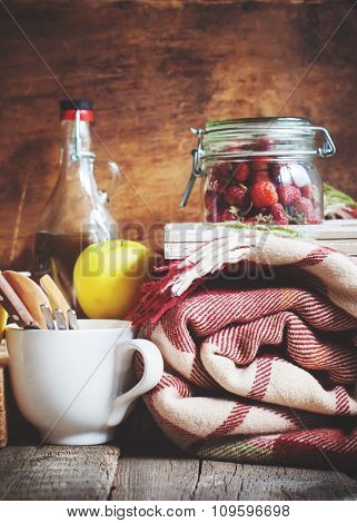 Country Picnic Set With Vintage Plaid, Food