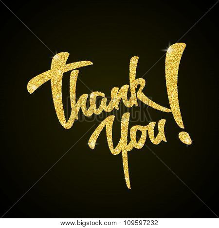 Thank you - gold glitter hand lettering on black background