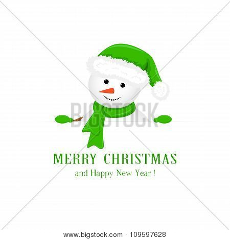 Snowman In Green Hat And Christmas Greetings