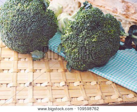 Organic broccoli on wattled surface