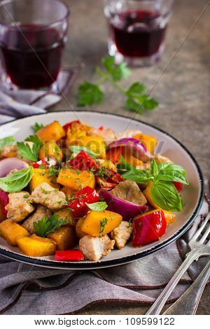 Roasted Pumpkin, Meat, Bell Peppers And Red Onion