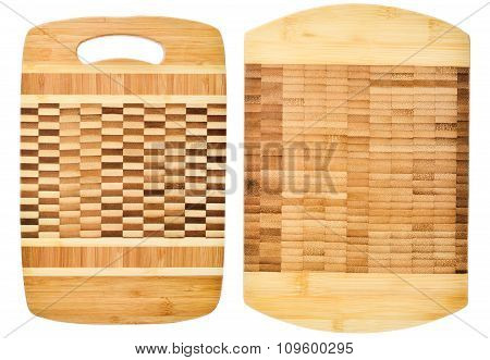Two Wooden Cutting Board Isolated On White Background
