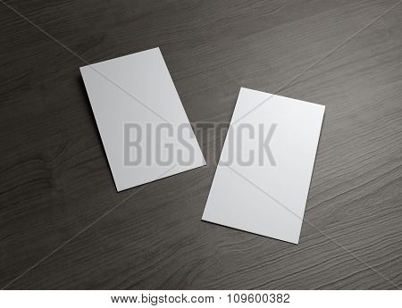 Two Styles Business Cards On Wood Table