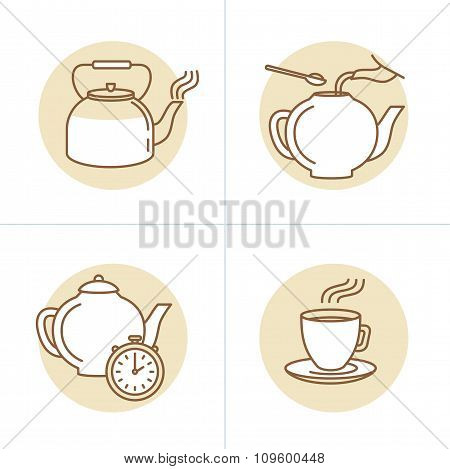 Vector Illustration In Trendy Linear Style - Tea Infusion Instructions And Guide - Icons And Drawing
